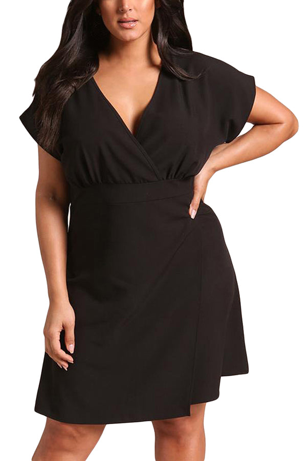 V Neck Short Sleeve Zipper Back Surplice Wrap Plus Size Dress Black