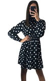 Casual High Neck Long Sleeve Polka Dot Party Dress Black