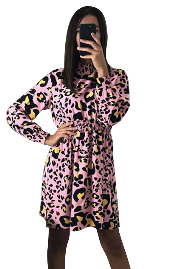 Casual High Neck Long Sleeve Leopard Print Party Dress Pink