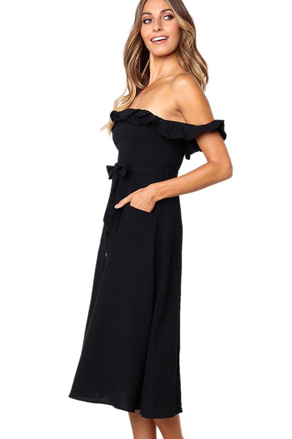 Off Shoulder Ruffle Button Front Plain Midi Dress Black