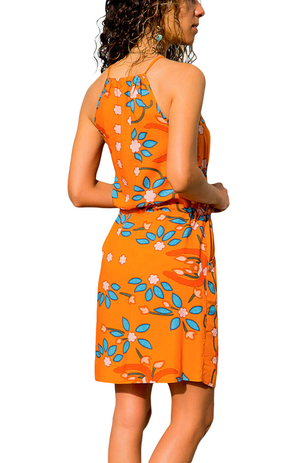 High Neck Floral Print Tank Dress With Pocket Yellow
