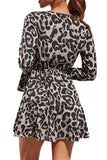 V Neck Long Sleeve Leopard Mini Chiffon Dress Gray