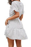 Button Front Ruffle Polka Dot V Neck Dress White