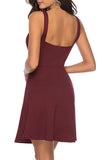 Solid Notched Neck Sleeveless Mini Dress Ruby