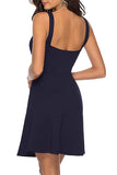 Notched Neck Plain Sleeveless Swing Dress Navy Blue