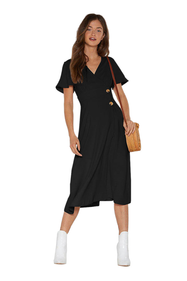 V Neck Short Sleeve Plain Midi Dress Black
