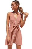 Sleeveless V Neck Button Mini Dress With Tie Pink