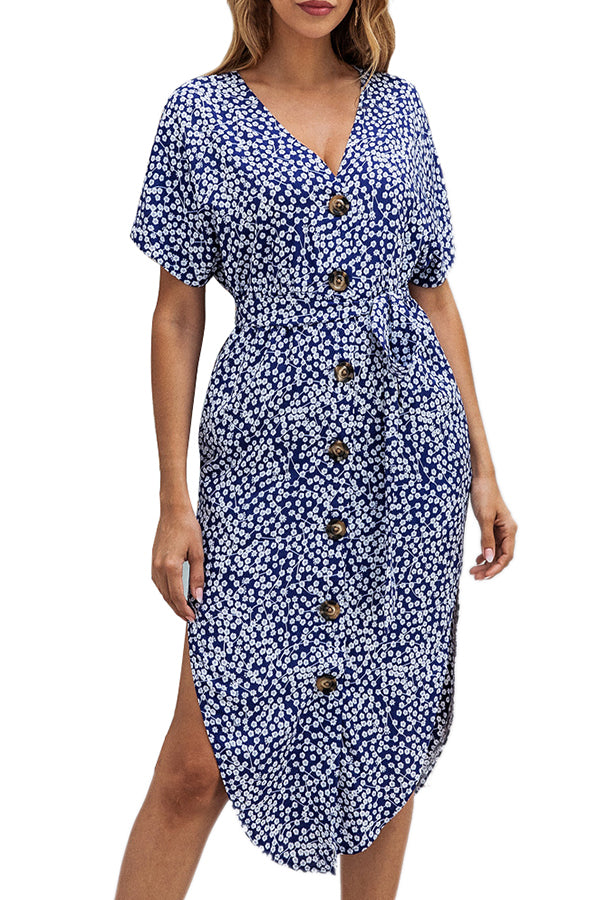 Button Down V Neck Short Sleeve Floral Midi Dress Blue