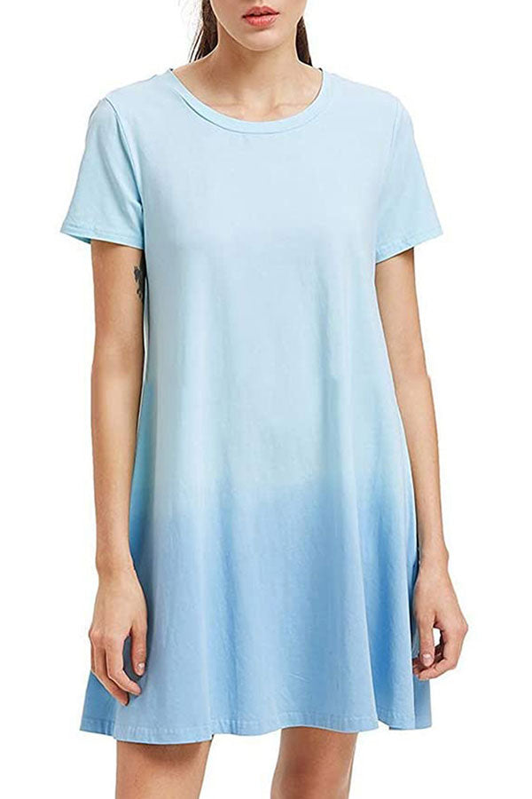 Crew Neck Short Sleeve Tie Dye Mini Dress Light Blue