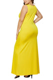 Sleeveless Scoop Neck Plus Size Maxi Dress Yellow