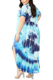 Plus Size Short Sleeve Tie Dye Maxi Dress Blue