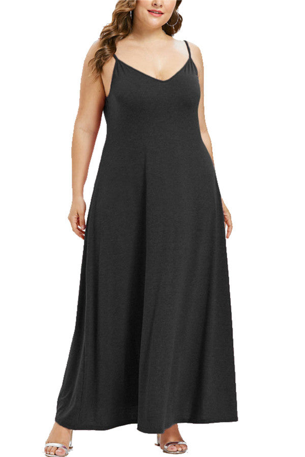 Plus Size Solid V Neck Maxi Cami Dress Black
