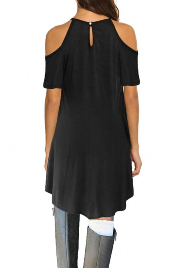 Hollow Out Cold Shoulder Casual Midi Dress Black