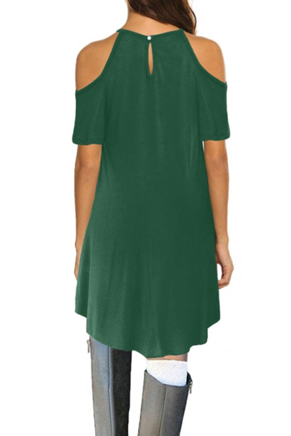 Floral Lace Cut Out Cold Shoulder Casual Dress Dark Green