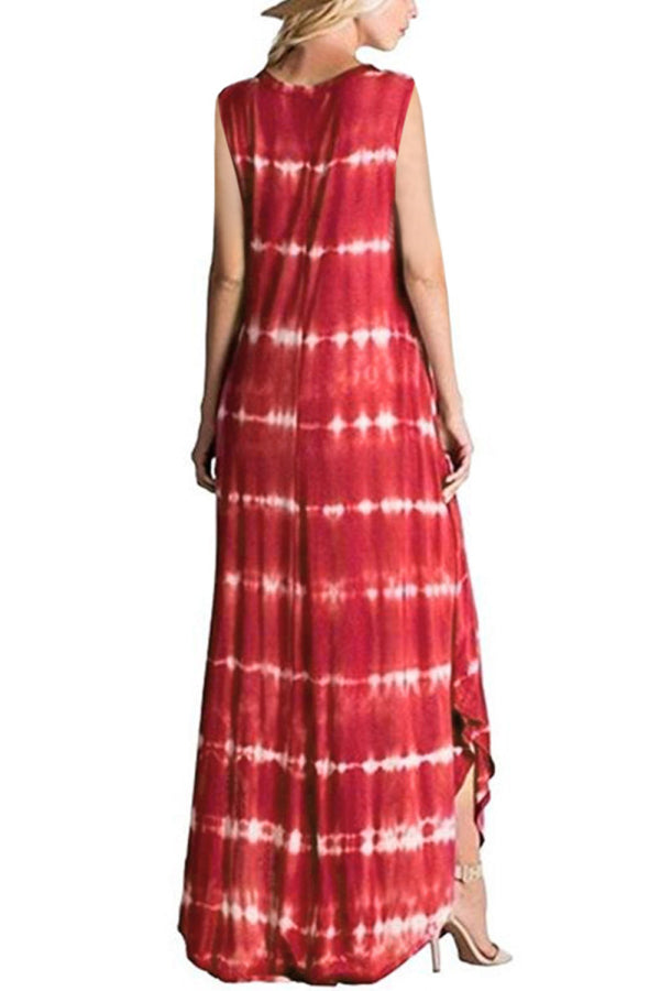 Casual Sleeveless Curve Hem Tie Dye Maxi Dress Red