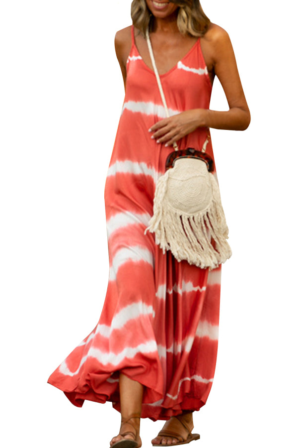 V Neck Tie Dye Cami Slip Dress Watermelon Red