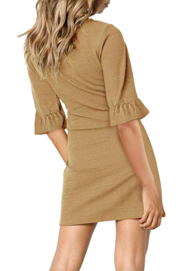 V Neck Plain Ruffle Sleeves Waist Tie Mini Dress Khaki