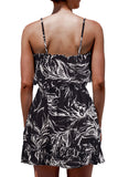 Women's Spaghetti Straps Floral Print Mini Dress Black