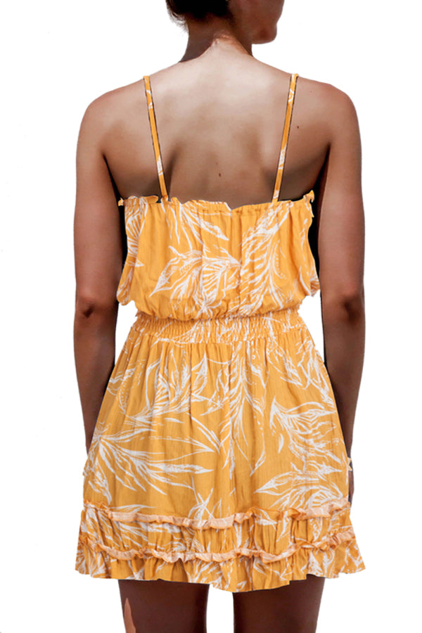 Frilled Trim Floral Print Spaghetti Straps Mini Dress Yellow