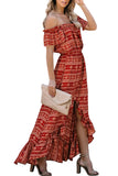 Off Shoulder Print Ruffle High Low Maxi Dress Ruby