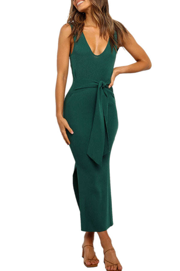Backless Solid Slit Bodycon Maxi Dress With Slit Green