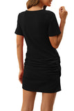 Crew Neck Ruched Plain Short Sleeve Mini Dress Black