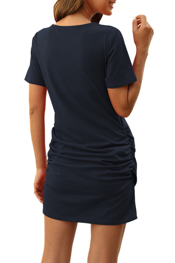 Short Sleeve Ruched Crew Neck Solid Mini Dress Navy Blue
