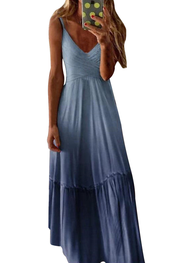 Plus Size Ombre Pleated Sleeveless Maxi Dress Blue