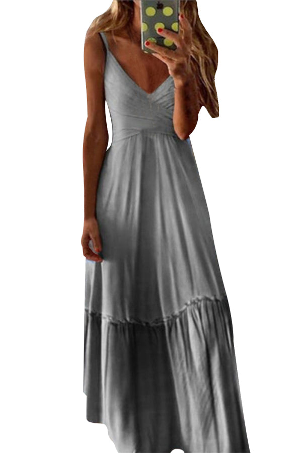 Plus Size Ombre Pleated Sleeveless Maxi Dress Grey