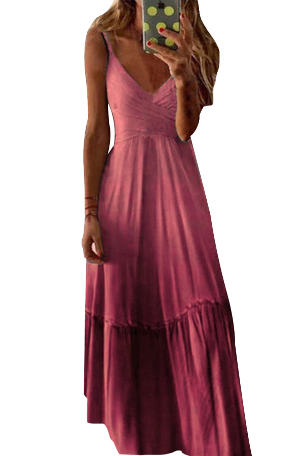Plus Size V Neck Ombre Pleated Cami Maxi Dress Ruby