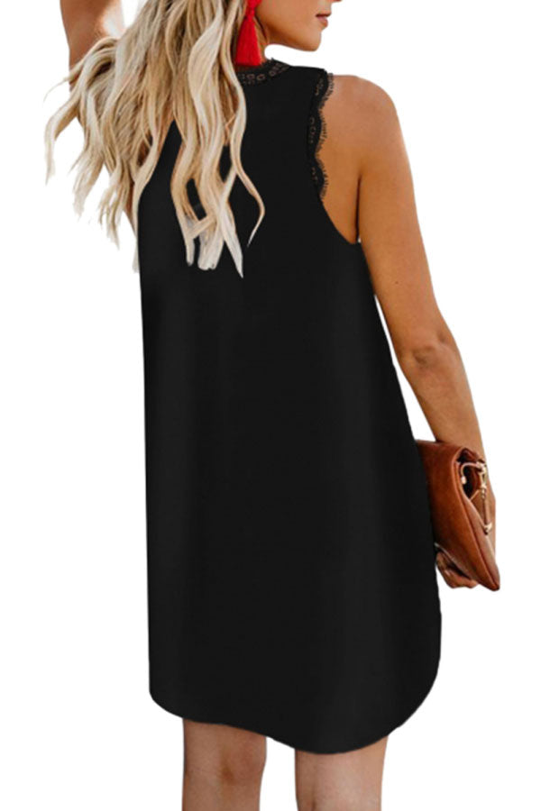 Eyelash Lace V Neck Sleeveless Plain Mini Dress Black