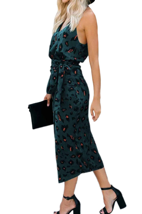 V Neck Leopard Print Midi Dress With Belt Green