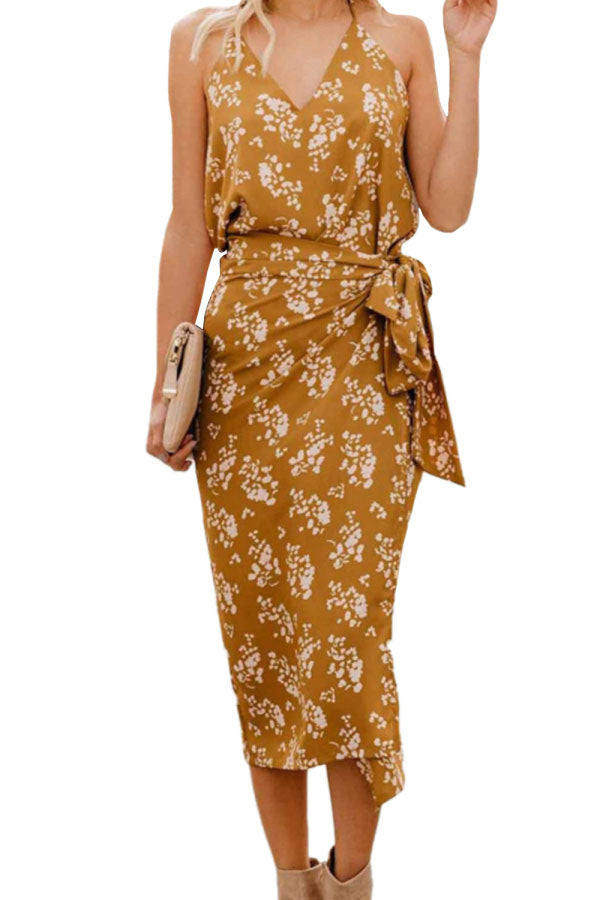 Floral Print Wrap Belt High Split Cami Dress Yellow