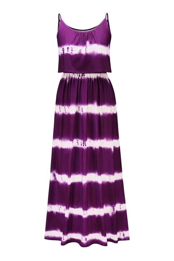 Crew Neck Pleated Tie Dye Print Cami Maxi Dress