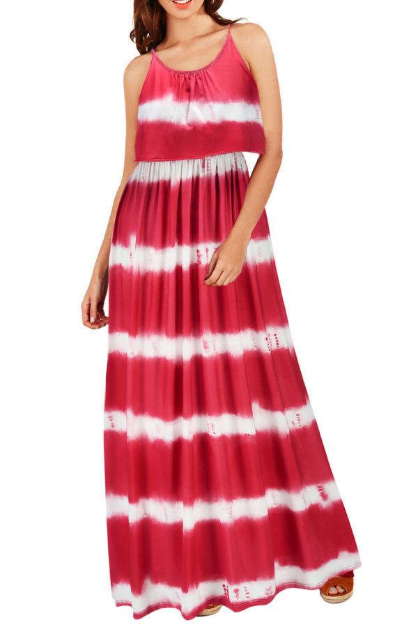 Spaghetti Straps Crew Neck Pleated Tie Dye Print Maxi Dress