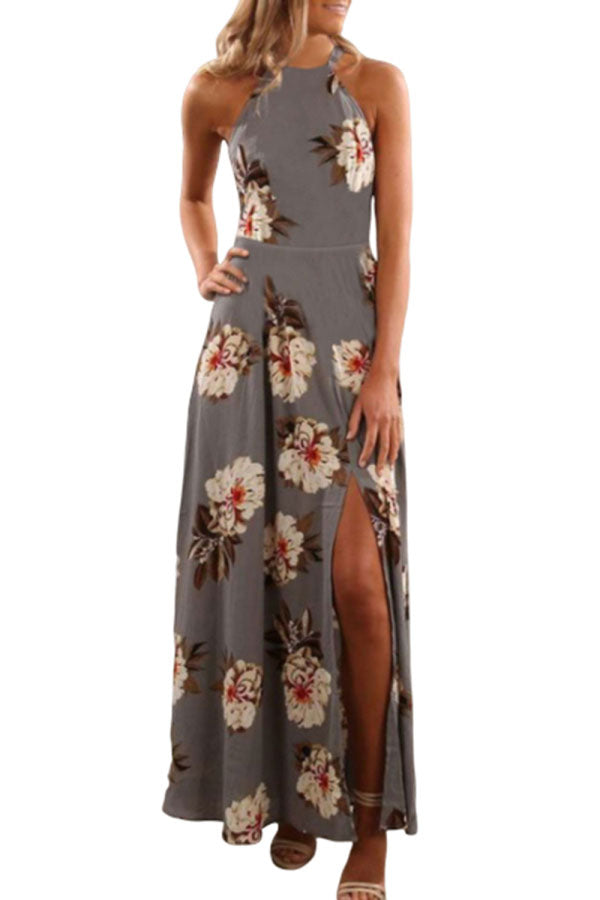 Sleeveless Floral Print Halter Maxi Dress With Slit Dark Grey