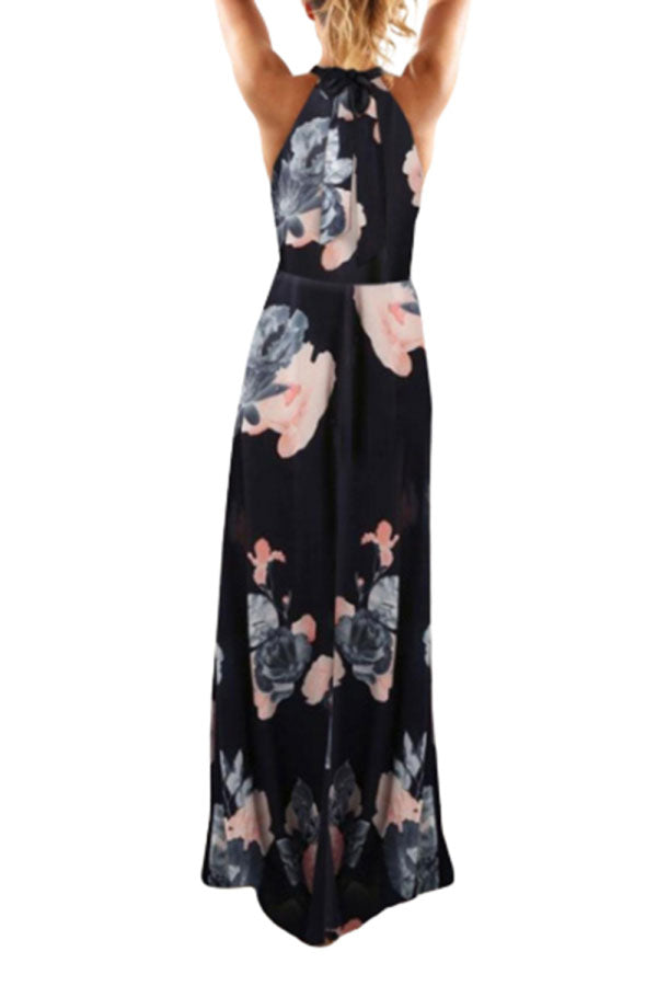 Women's Halter Floral Print Maxi Dress With Split Navy Blue