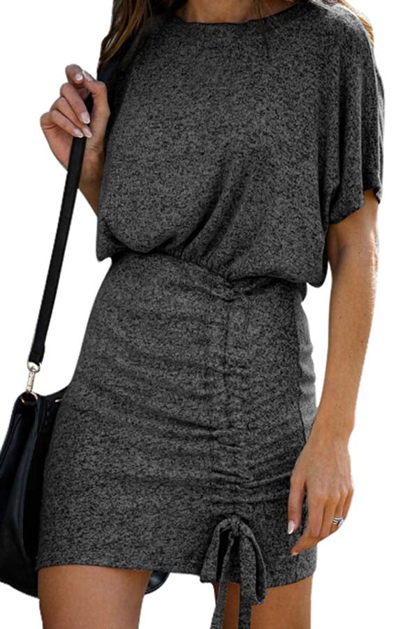 Women's Short Sleeve Crew Neck Ruched Mini Dress Black