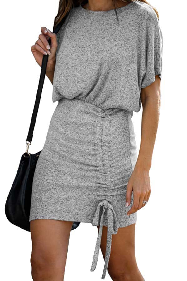 Women's Casual Crew Neck Ruched Stretchy Bodycon Mini Dress Light Grey