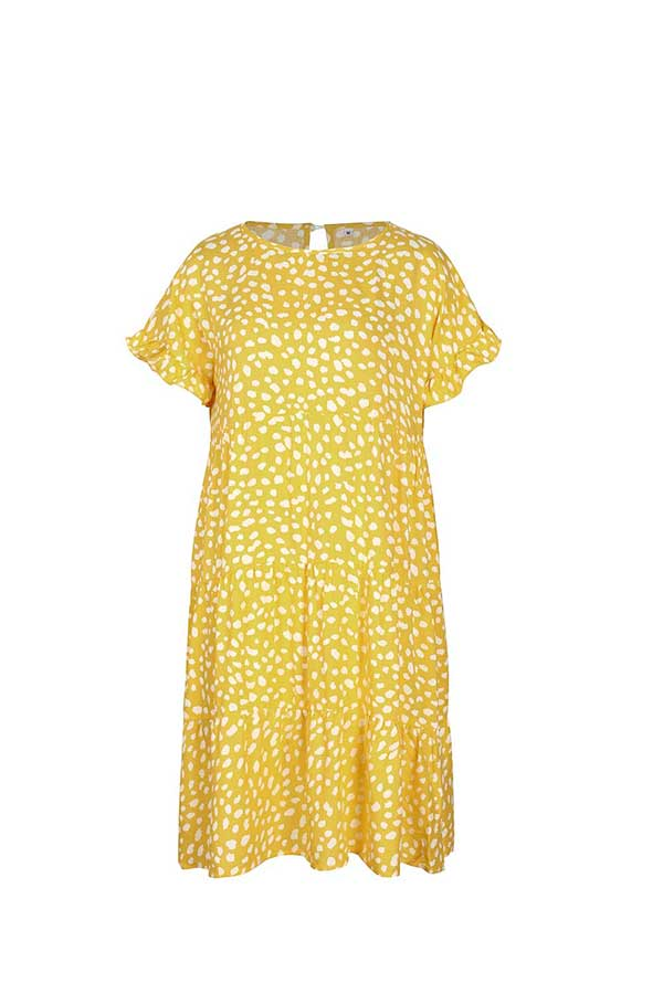 Casual Crew Neck Short Sleeve Ruffle Dot Print Midi Dress Yellow