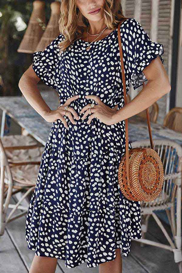 Summer Casual Loose Ruffle Short Sleeve Dot Print Midi Dress Navy Blue