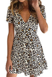 Summer Sexy V Neck Short Sleeve Leopard Mini Dress Black