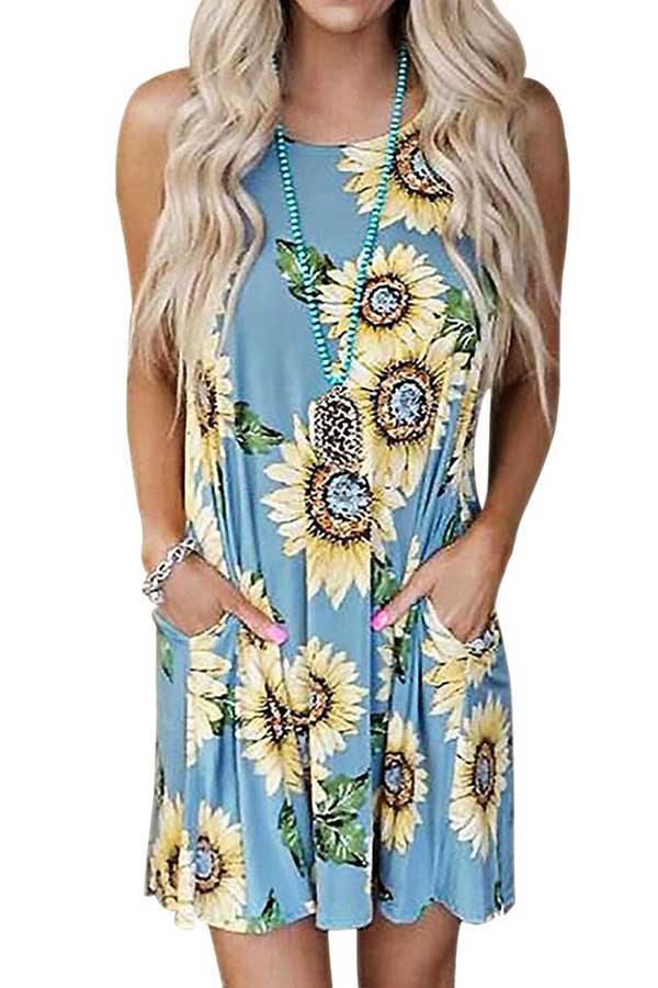 Women's Summer Casual Sunflower Print Tank Swing Dress With Pocket