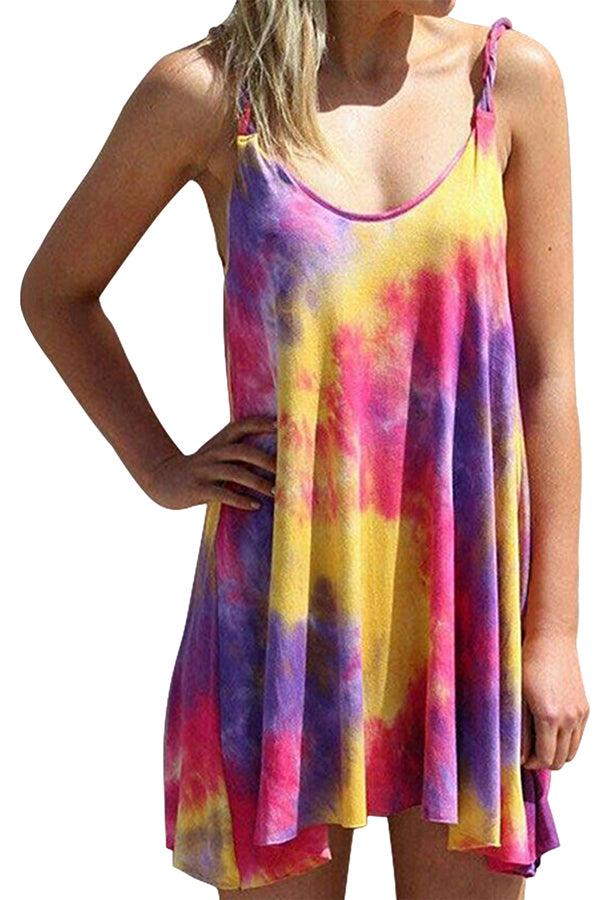 Summer Casual Sleeveless Tie Dye Swing Mini Dress For Women