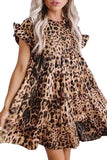 Women's Ruffle Leopard Print Babydoll Dress Chestnut