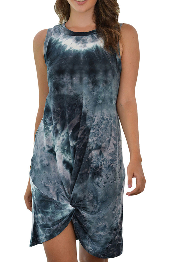 Women's Crew Neck Tie Dye Sleeveless T-Shirt Dress Grey