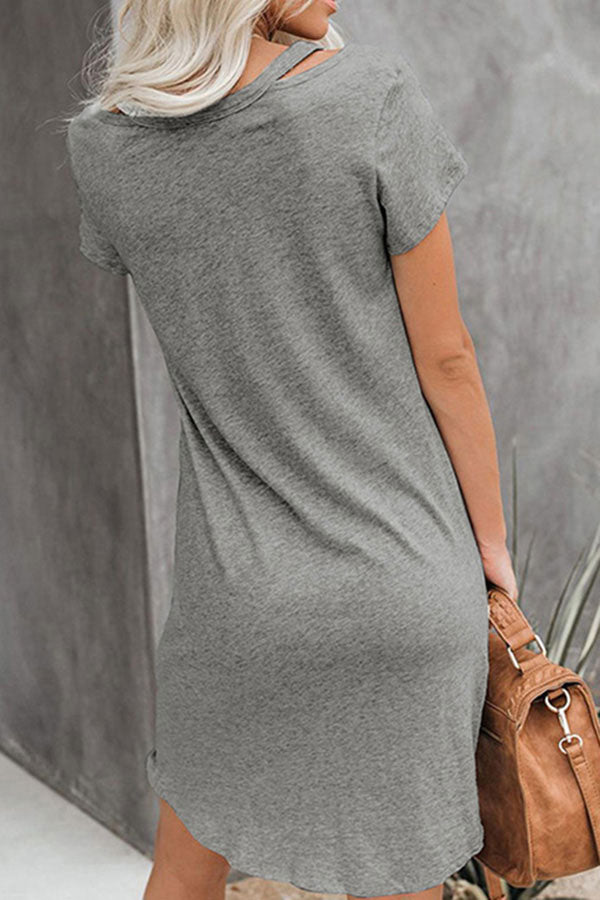 Twist Short Sleeve V Neck Plain Cut Out Shoulder Mini Dress Grey