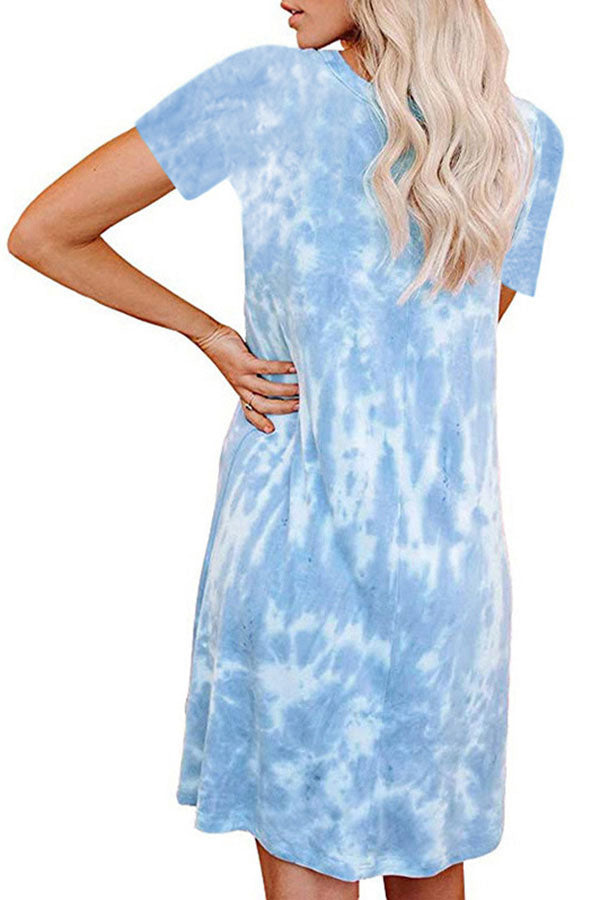 Crew Neck Short Sleeve Tie Dye Plus Size T-Shirt Mini Dress Blue