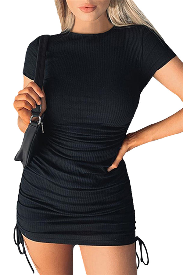 Solid Short Sleeve Ruched Bodycon Dress For Women Black