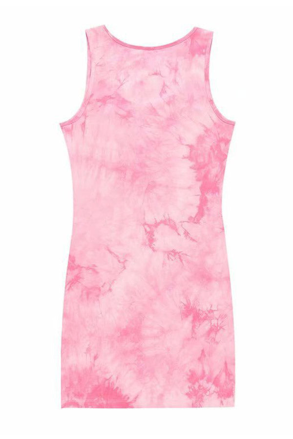 Scoop Neck Tie Dye Sleeveless Mini Dress Pink